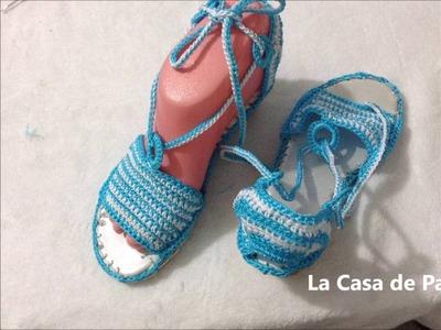 Zapatos tejidos sandalias tejidas a crochet, gancho Parte 1