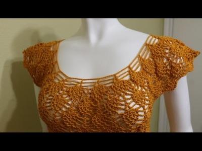 Blusa Fácil con Piñas Crochet
