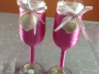 Decoración copas con cola de rata y conchas Decoration corner with tail of rate and shells