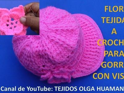 Flor tejida a crochet fácil y rápido de tejer para gorra con visera