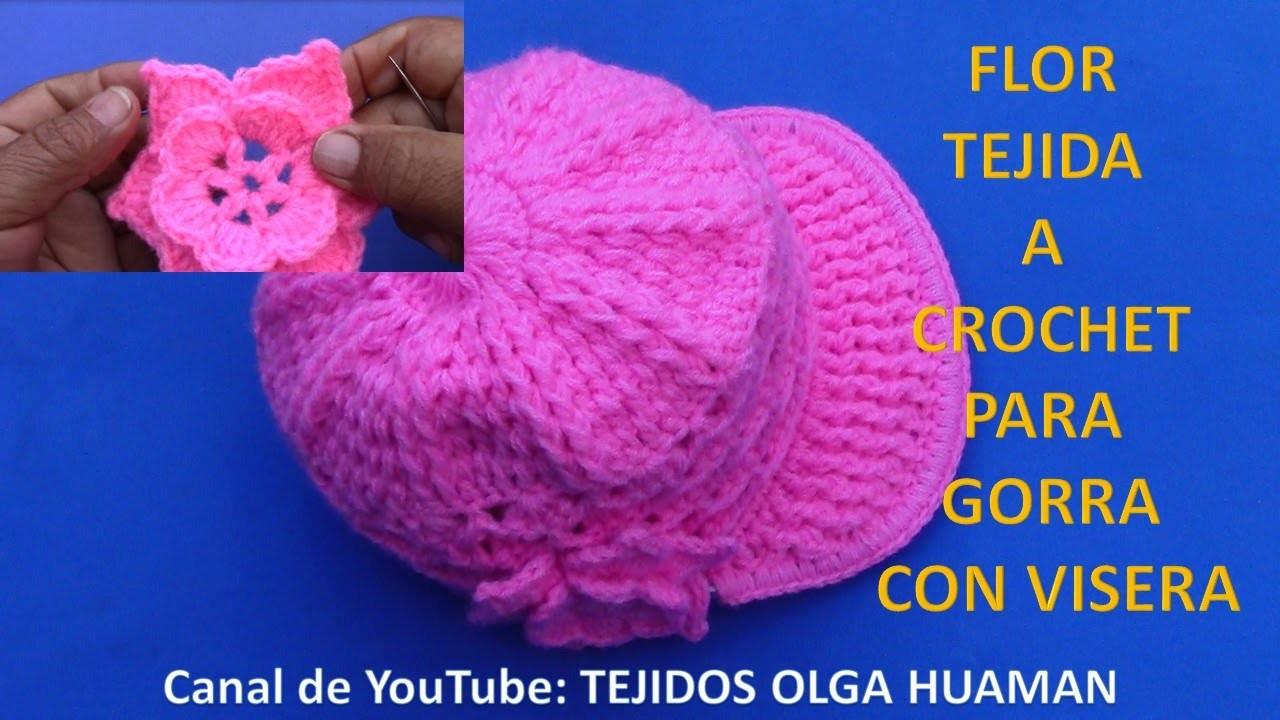 Flor Tejida A Crochet Facil Y Rapido De Tejer Para Gorra Con Visera