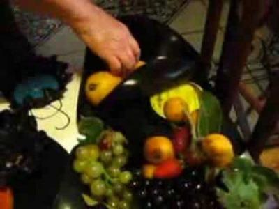 Frutera Reciclada con disco de Vinilo.  (ecological Frutera)