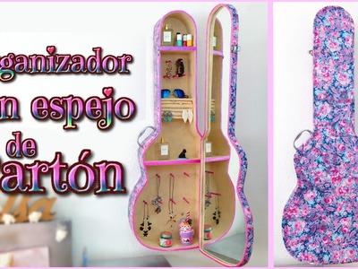 IDEA DIY DECORA TU CUARTO -organizador de CARTON con espejo - guitarra - Isa ❤️