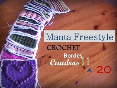 Manta a crochet FreeStyle: bordes cuadros del 11 al 20 (diestro)