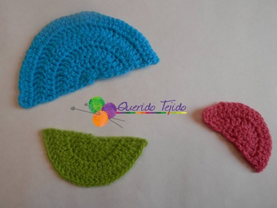 Medio círculo a crochet - How to crochet a half circle ENGLISH SUB