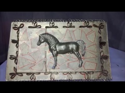 Cuadro de carton,  un caballo--box cartons paper roll