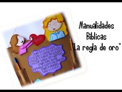 """Porta notas de Fomi y cartón. Manualidades bíblicas """"La regla de oro"""".Lucas 6:27,28.31"""