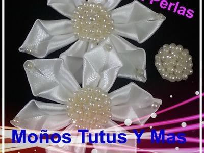 CENTRO DE PERLAS para flores y moños BEADED PEARL CENTERS Tutorial DIY Paso a Paso