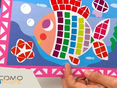 Peces de colores con pegatinas - manualidades para los mas peques