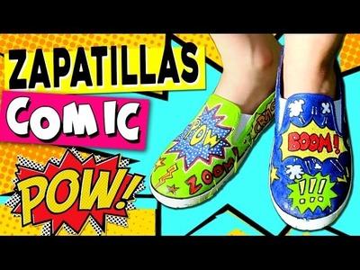 ZAPATILLAS decoradas estilo COMIC o POP Art  * Manualidades de VERANO para niños