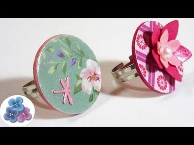 Anillos de Papel Faciles y Bonitos Bisuteria artesanal de Papel y Reciclado Pintura Facil