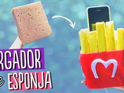 COMO HACER UN CARGADOR DE ESPONJA para tu celular ¡Papas Fritas!. Base para celular ✄ Craftingeek