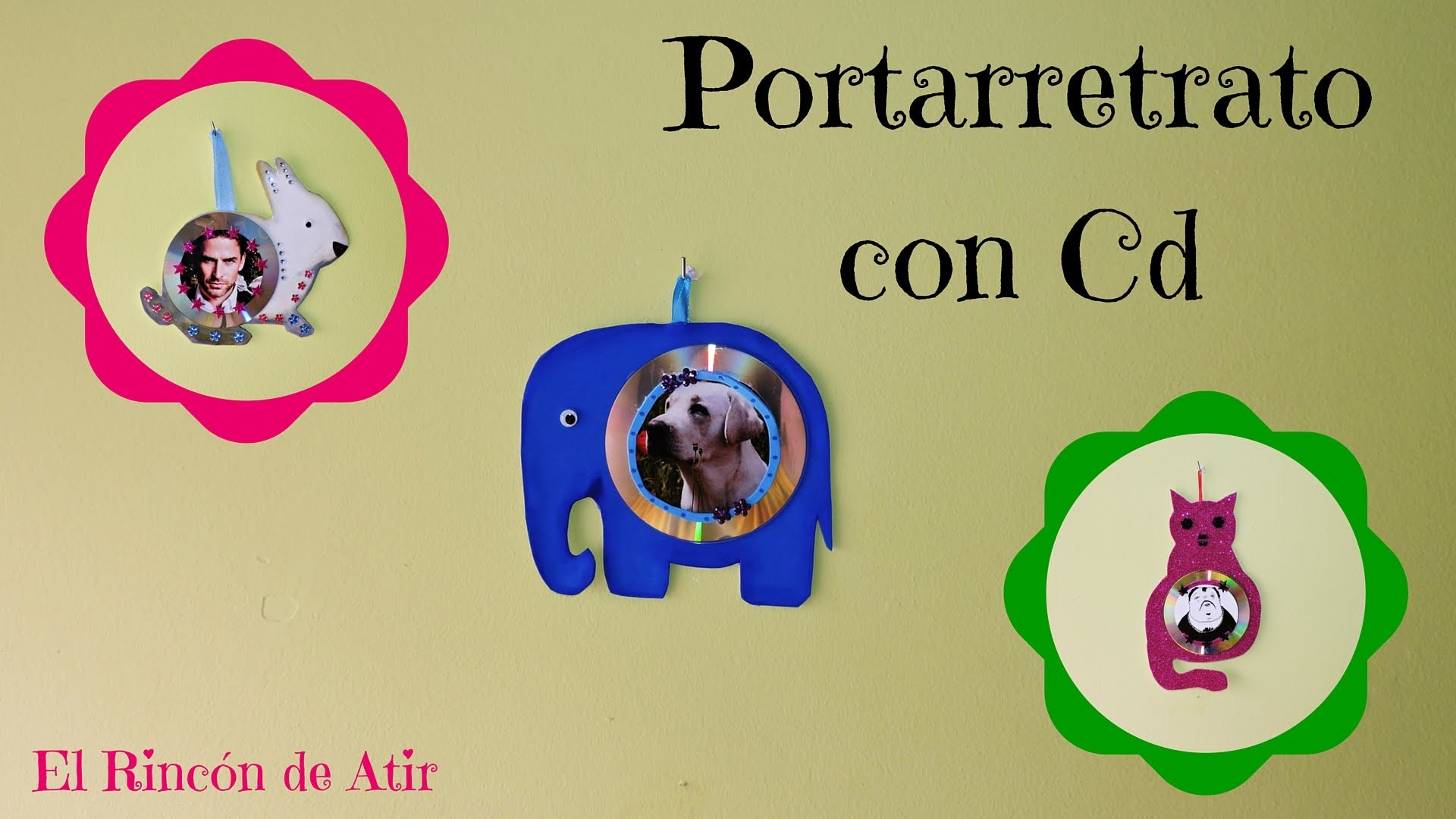 MARCO DE FOTOS O PORTARRETRATO CON CD. Gato, elefante, caracol, conejo