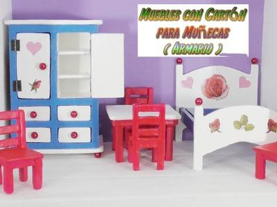 Muebles de Cartón para casas de Muñecas, tutorial Armario ropero hecho con Cartón, DIY,