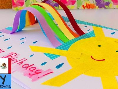 Tarjeta con arcoiris en 3D | Rainbow card | Idea fácil