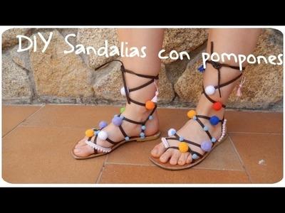 DIY Sandalias con pompones ¡¡ Rápido y fácil !! | Candermich