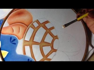 Pintura en tela canasto de pan # 4 con cony
