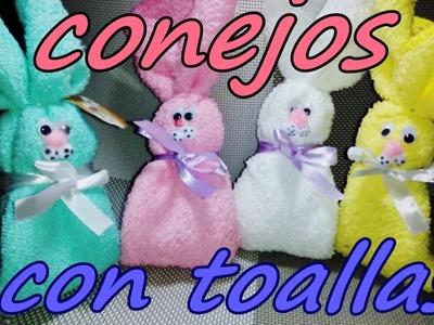 RECUERDOS PARA BABY SHOWER. CONEJOS DE TOALLAS FACIALES