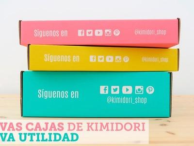 Convierte las cajas de Kimidori en bandejas para almacenar papeles de scrapbooking