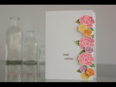 """Floral card: """"Best wishes"""""""