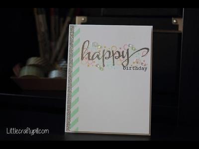 Silver-mint Happy Birthday. Tarjeta de cumpleaños en menta y plateado