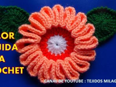 Flor # 9 tejida a gancho fácil y rápido para tejer