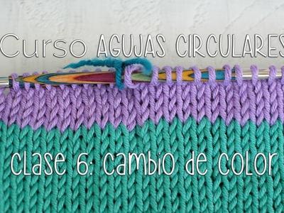 TEJER CON AGUJAS CIRCULARES: Cómo cambiar de Color CLASE 6