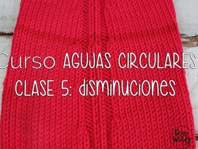 TEJER CON AGUJAS CIRCULARES: Disminuciones CLASE 5