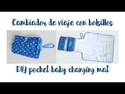 Cambiador de viaje con bolsillos - DIY pocket baby changing mat