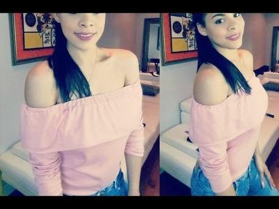 DIY blusa de hombros descubierto ❤3
