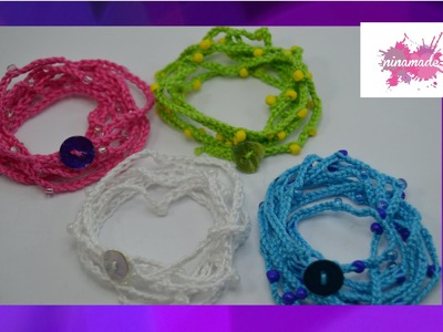 DIY. Como hacer una pulsera de hilo y perlas. How to make yarn and pearl bracelet
