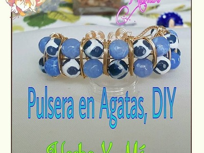 Pulsera en Agatas, Alambrismo, DIY