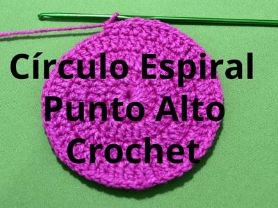 Circulo Espiral con Punto Alto en tejido crochet tutorial paso a paso.