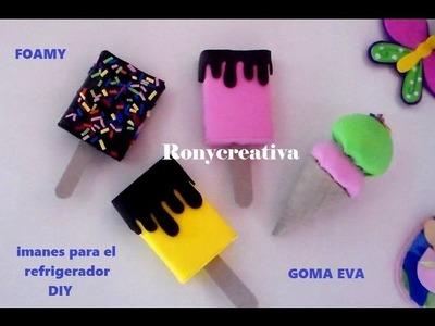 DIY Imanes para el refrigerador. foamy craft DIY