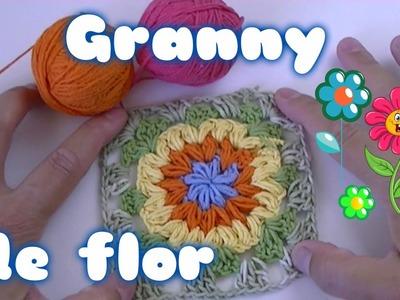 Granny o square de  flor a crochet o ganchillo facil