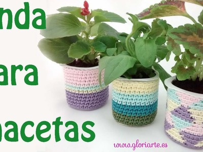 Maceta de ganchillo. Crochet pot.