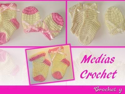 Medias -  calcetines tejidos a crochet (ganchillo) para bebés
