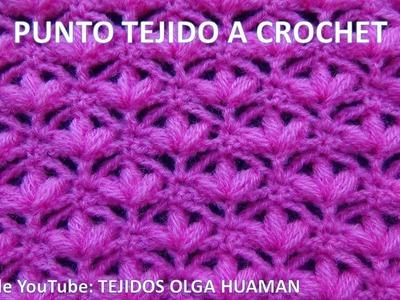 Punto tejido a crochet o ganchillo para mantitas de bebe