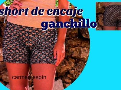 SHORT DE ENCAJE CON GANCHILLO:DIY
