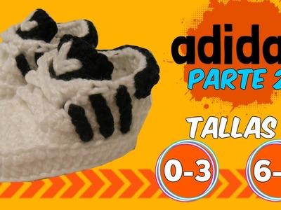 Zapatitos adidas tejidos a crochet 0-3 y 6-9 meses  | parte 2.2