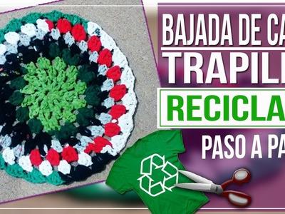 Bajada de Cama en Crochet Con Trapillo Reciclado - Tutorial Paso a Paso