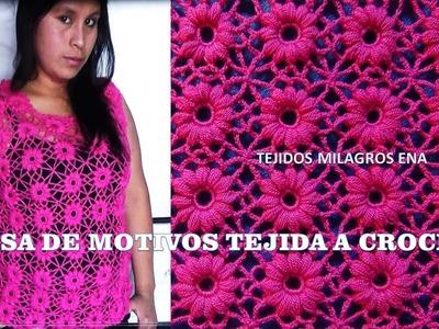 Blusa Rosada tejida con motivos a crochet - TEJIDOS MILAGROS ENA