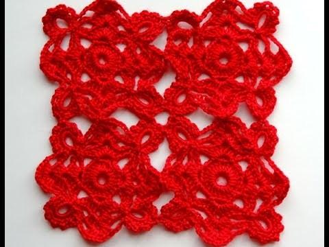 Crochet: Motivo Cuadrado con Flor # 15