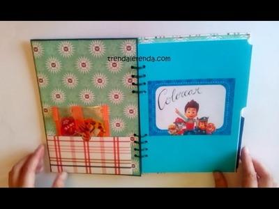 DIY libreta de scrapbooking Patrulla Canina para colorear y puzzles. Trenda Lerenda
