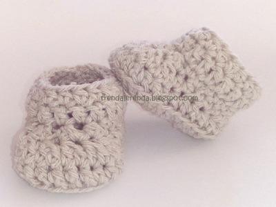 Patucos de ganchillo básicos, fáciles y rápidos. Easy crochet baby booties. Tutorial paso a paso.