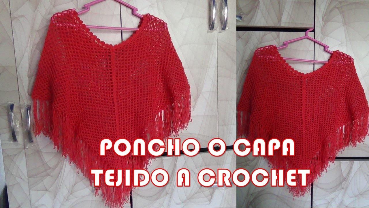 PONCHO o CAPA fácil y rápido de tejer a crochet en punto red o malla