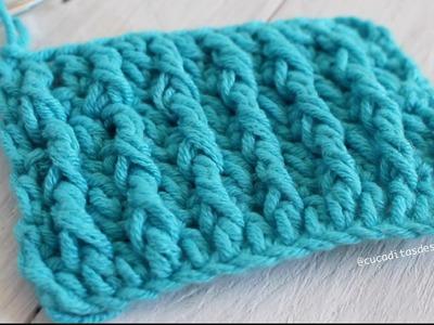 Punto Alto Doble Crochet en ¡ RELIEVE !  DIY I cucaditasdesaluta