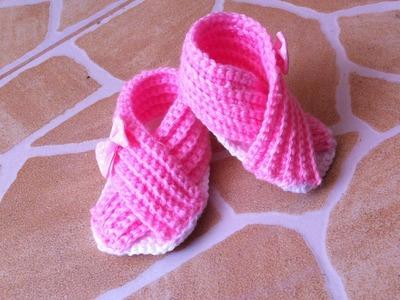 Sandalias bebe cruzadas tejidos a crochet muy facil