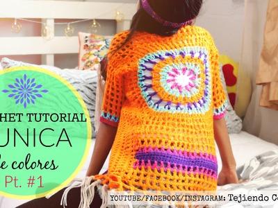 TUNICA DE COLORES Crochet Tutorial Parte #1 | Tejiendo Con Erica
