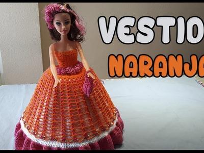 Vestido Naranja a crochet para Muñeca